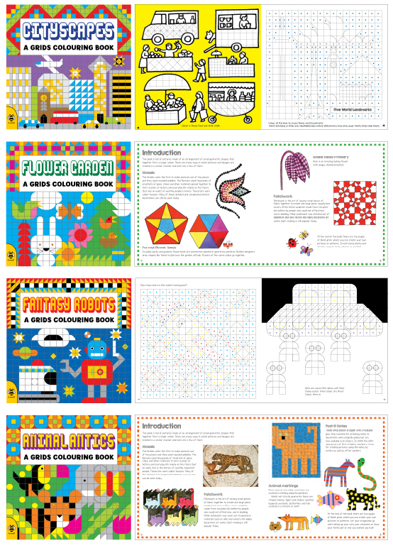 Grids Colouring Books x4